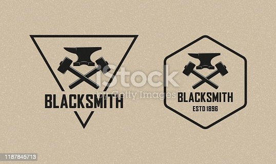 istock Vector illustration of a hammer, anvil and text with background with grunge texture. Professional metal work 1187845713