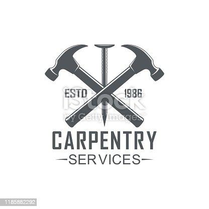 Black and white illustration logo of a workshop of carpentry.