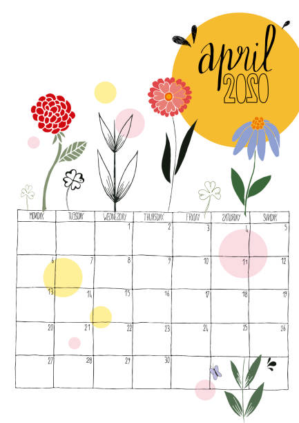 ilustraciones, imágenes clip art, dibujos animados e iconos de stock de ilustración vectorial de un calendario dibujado a mano de abril de 2020 con garabatos de colores - calendario de flores