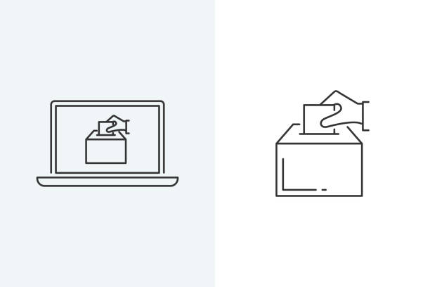vector illustration of a hand putting a voting paper in the election box. online voting - ballot stock illustrations