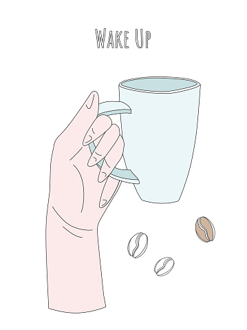Vector illustration of a hand with a morning cup