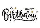 """Vector illustration of a Happy Birthday Invitation with stars. Greeting card with """"Happy Birthday"""" inscription. Can be used for cards, flyers, posters, t-shirts."""
