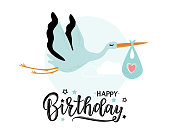 Vector illustration of a Happy Birthday Invitation with stork. Stork carrying a cute baby in a bag. Can be used for cards, flyers, posters, t-shirts.