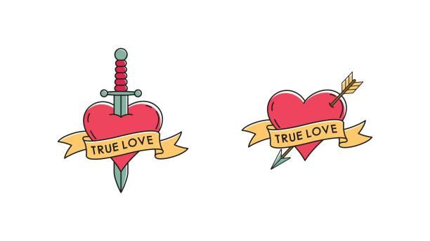 illustrations, cliparts, dessins animés et icônes de illustration de vecteur d'un coeur avec une flèche et une dague, un ruban avec le texte sur un fond blanc. - tatouages cœurs