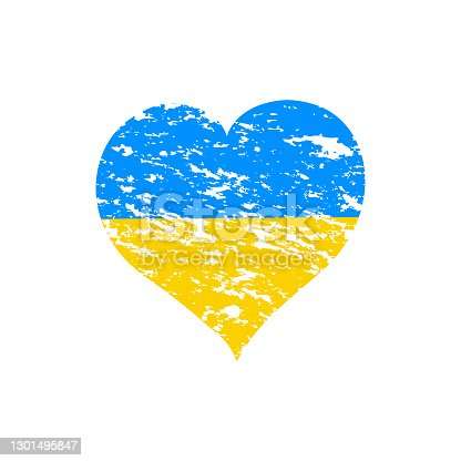 istock vector illustration of a  Heart with the flag of Ukraine 1301495847