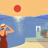 Vector illustration of a hot day at the seaside with a view of the bell tower and the bay