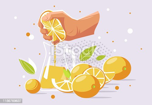 istock vector illustration of a human hand that squeezes the juice from an orange into a glass carafe, oranges 1156769637