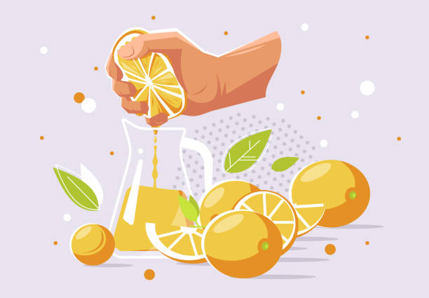 vector illustration of a human hand that squeezes the juice from an orange into a glass carafe, oranges - squeezing stock illustrations