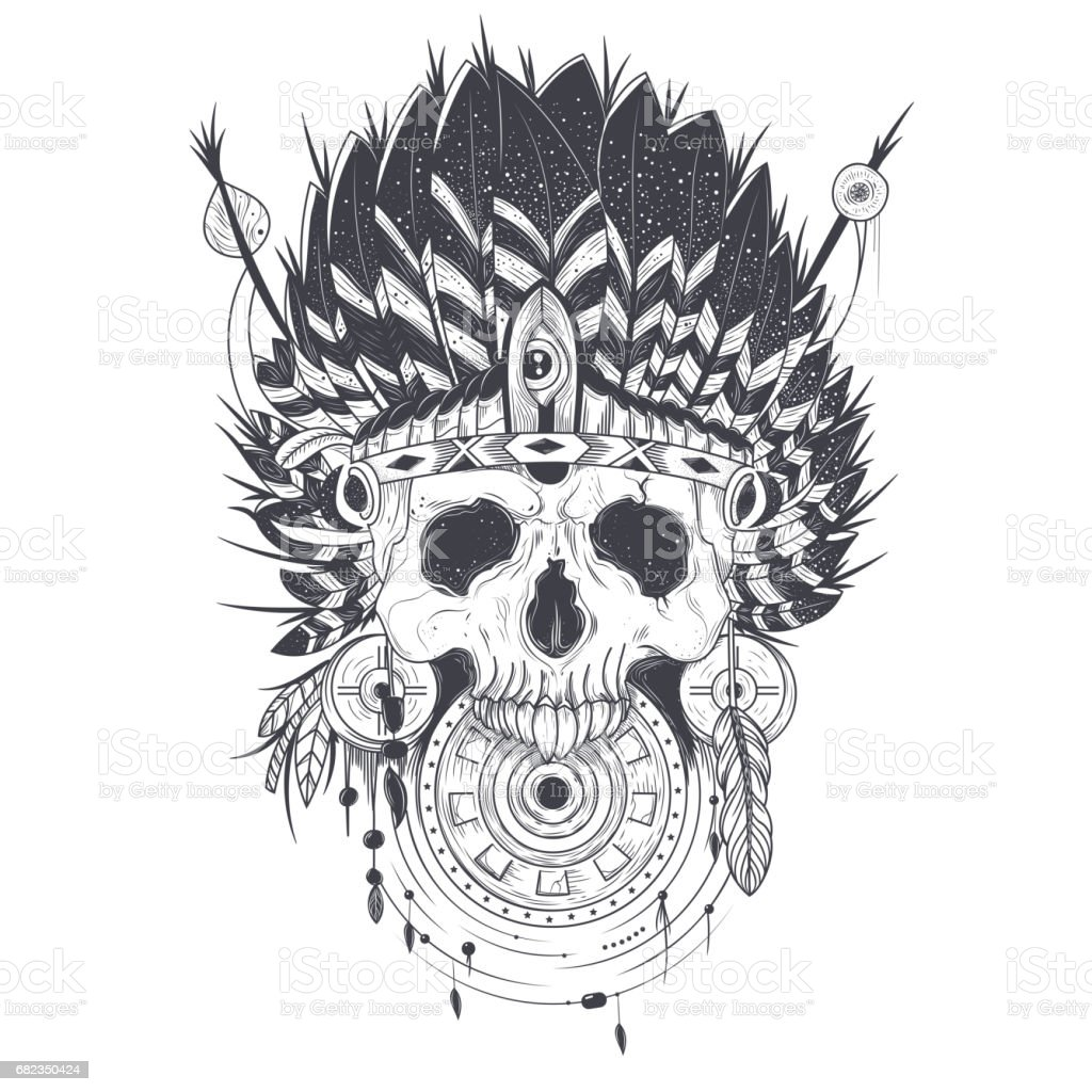 Vector Illustration Of A Human Skull In An Indian Feather Hat Tattoo ...