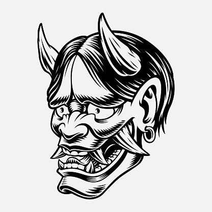 Vector illustration of a Japanese Oni Demon
