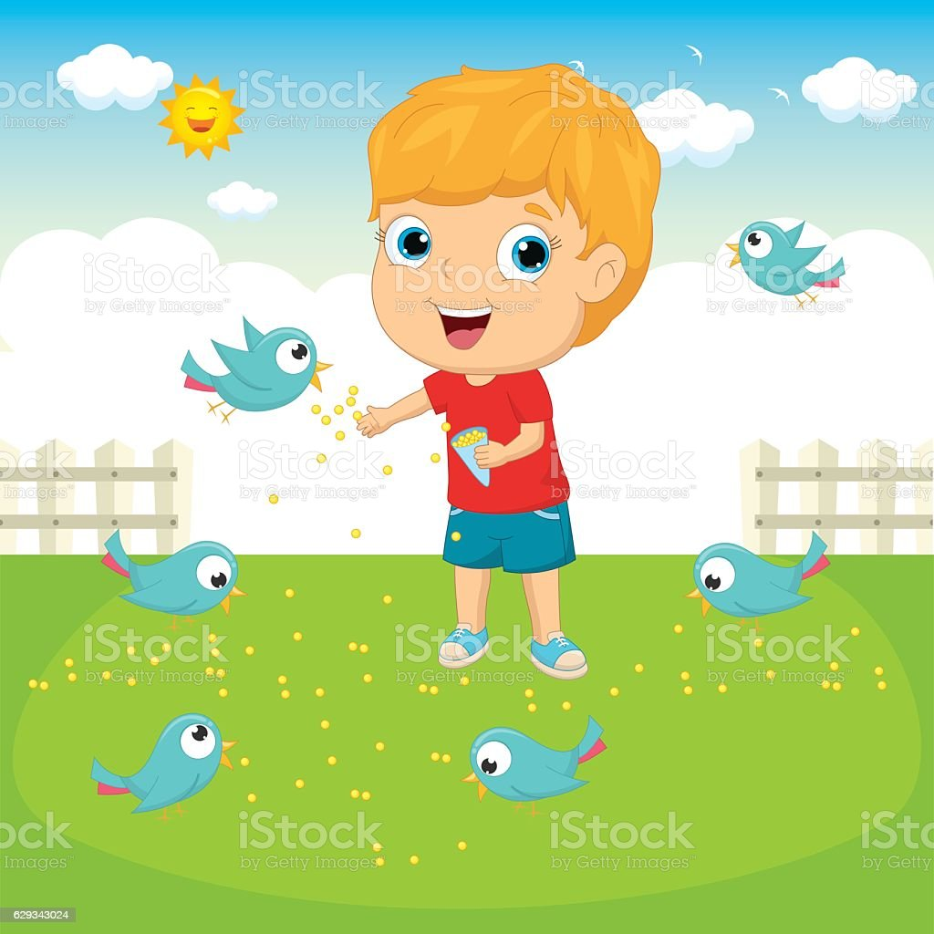 Vector Illustration Of A Kid Feeding Birds vector art illustration