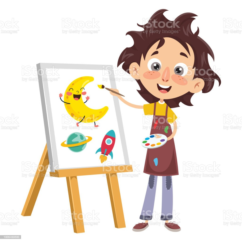 Vector Illustration Of A Kid Painting vector art illustration