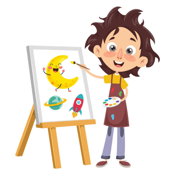 vector illustration of a kid painting - art class stock illustrations, clip art, cartoons, & icons