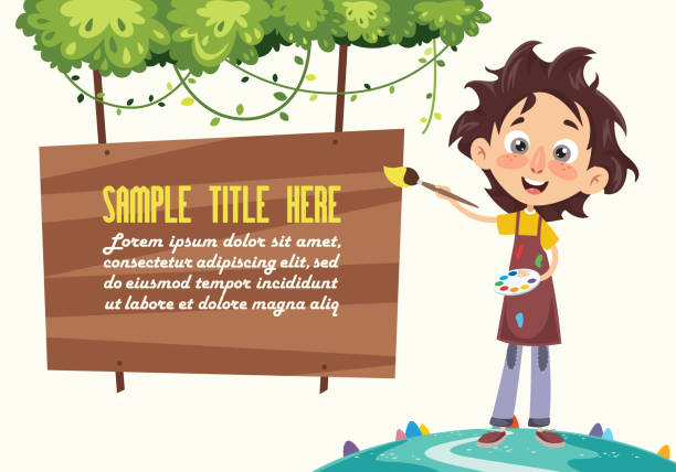 vektor-illustration eines gemäldes kid - kunstunterricht stock-grafiken, -clipart, -cartoons und -symbole