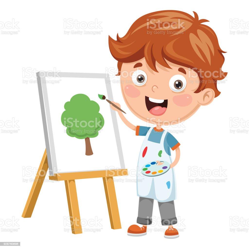 Vektör çizim Bir çocuk Boyama Stok Vektör Sanatı Animasyon