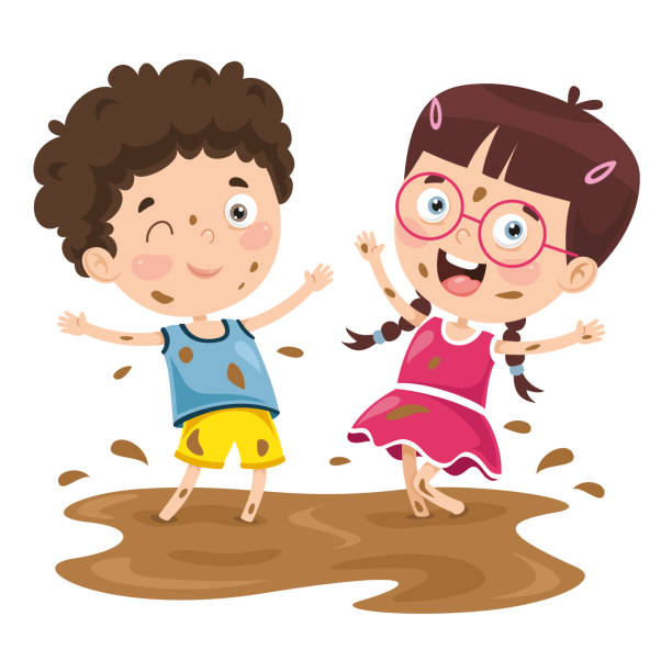 vector illustration of a kid playing in mud - kids playing in rain stock illustrations, clip art, cartoons, & icons