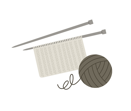 Vector illustration of a knitting thread and a knitted piece of fabric on the needle.