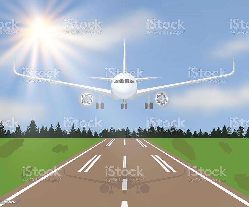 Vector illustration of a landing vector art illustration