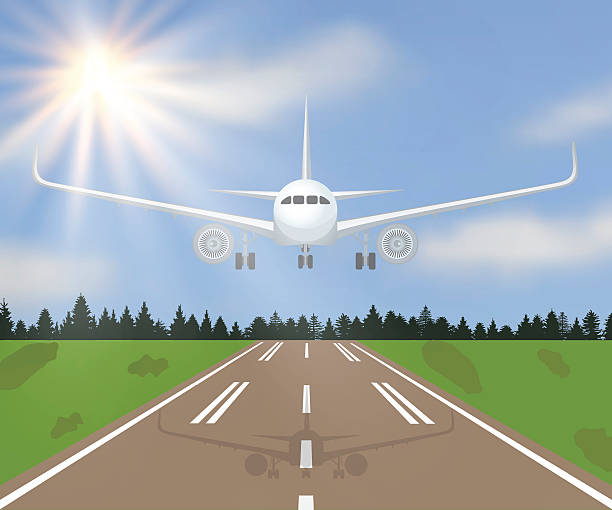 Vector illustration of a landing Vector illustration of a landing or taking off plane with forest, grass and sun on sky background. aviation and environment summit stock illustrations