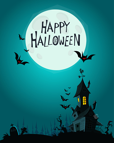 Vector Illustration of a Landscape with a Spooky Haunted Halloween house and a Full Moon