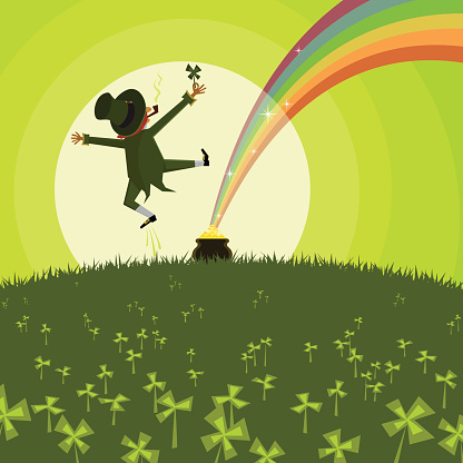 Vector illustration of a leprechaun and a pot of gold