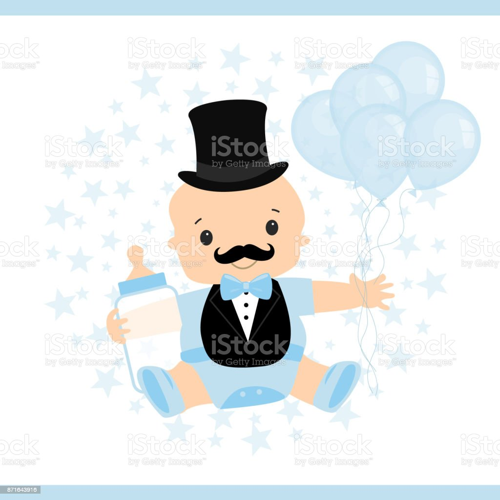 Vector Illustration Of A Little Baby Little Mans Birthday