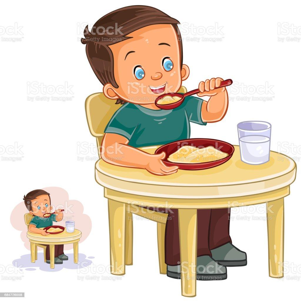 Vector illustration of a little boy eating breakfast vector art illustration
