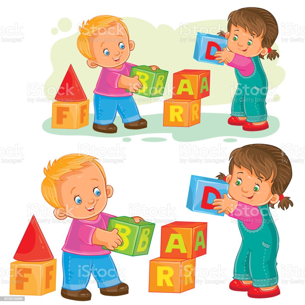 Vector illustration of a little girl and boy playing with cube vector art illustration