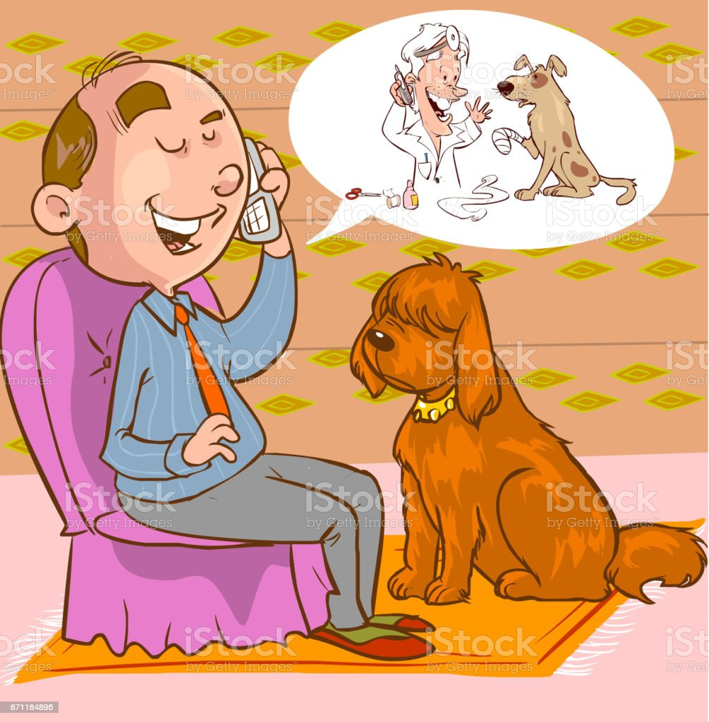 Vector illustration of a looking guy with a veterinarian phone vector art illustration