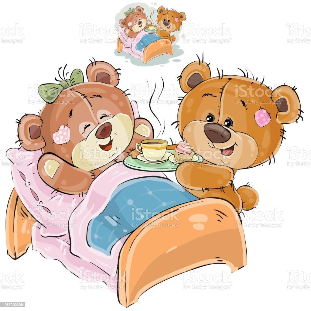 vektorillustration eines liebevollen braunen teddyb ren brachte ein tablett mit fr hst ck und. Black Bedroom Furniture Sets. Home Design Ideas
