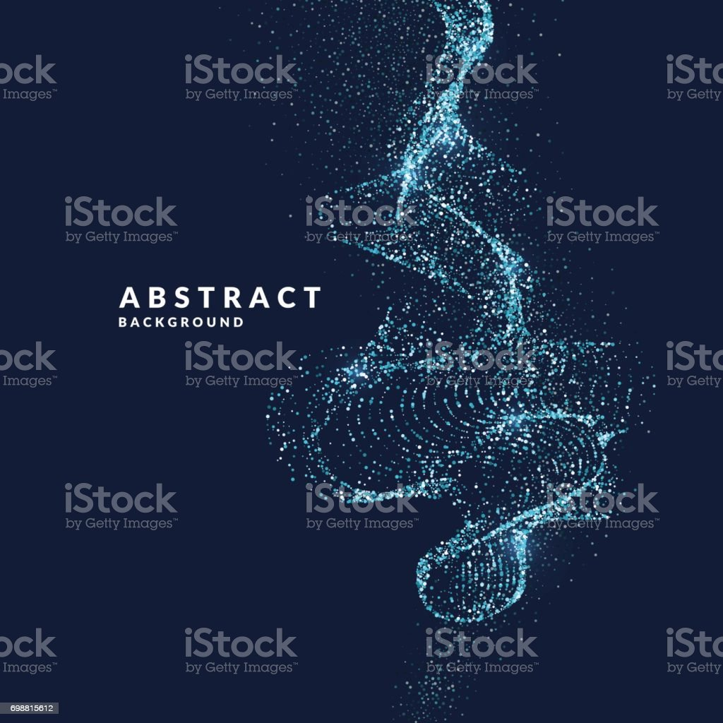 Vector illustration of a magic wave with shining particles of glitter on a dark background. Abstract concept vector art illustration