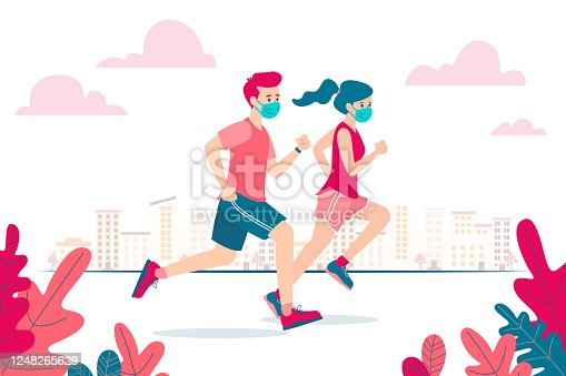 istock Vector illustration of a man and woman running and wearing a face mask because of the coronavirus and the new normality 1248265629