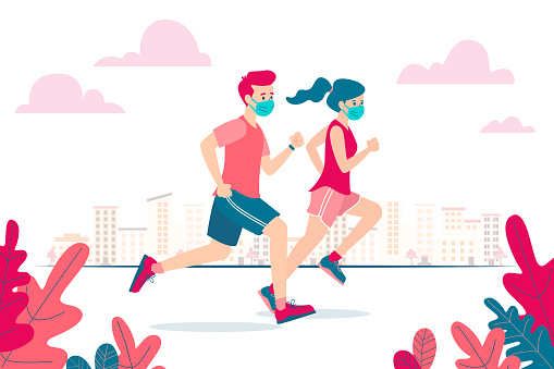 Stock illustration of a two runners, man and woman, wearing a mask on the face because of coronavirus covid-19 and the new normality. Flat vector