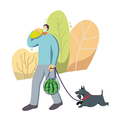 Vector illustration of a man in a protective mask with a dog on the street. Man carries shopping-watermelon and melon