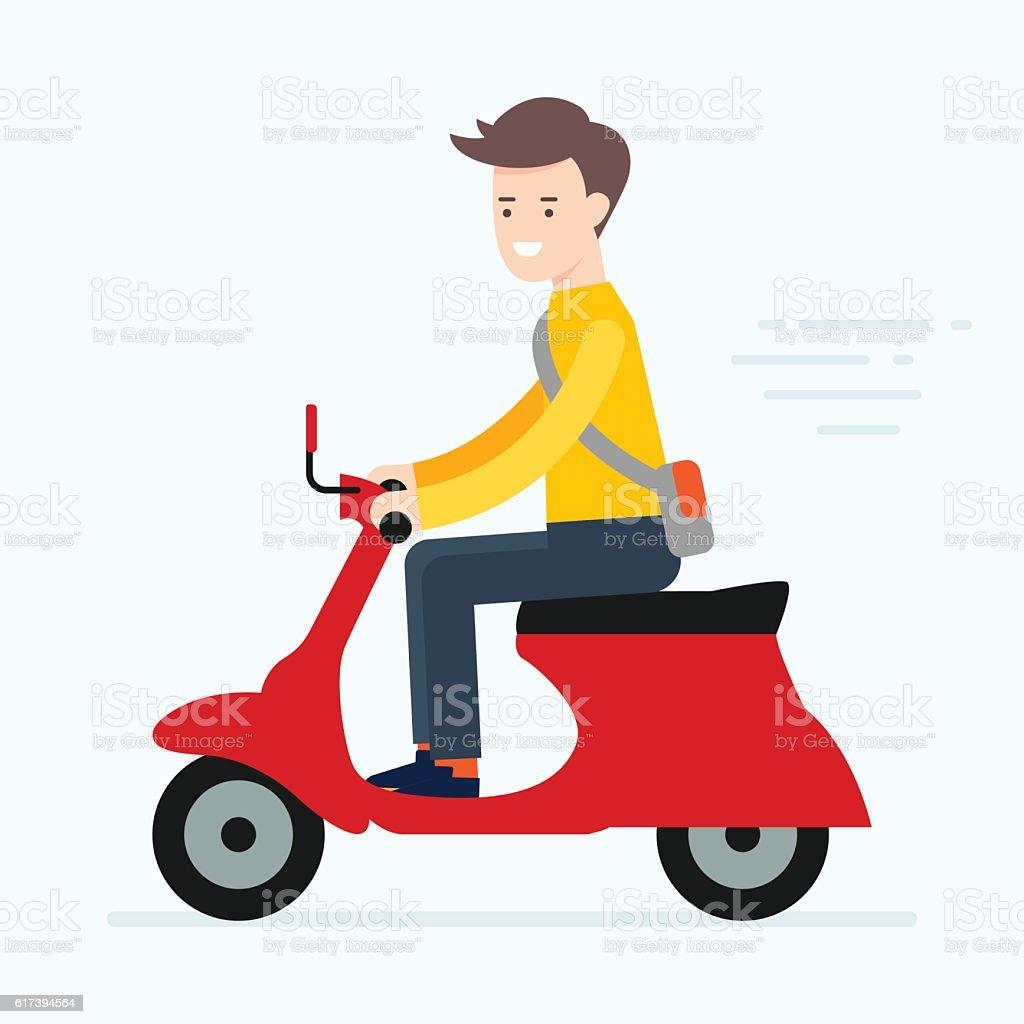 Vector illustration of a man riding scooter vector art illustration
