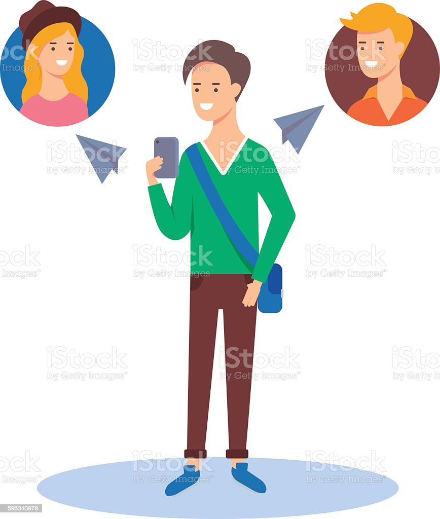 Vector illustration of a man sending messages to his friends royalty-free vector illustration of a man sending messages to his friends stock vector art & more images of adult