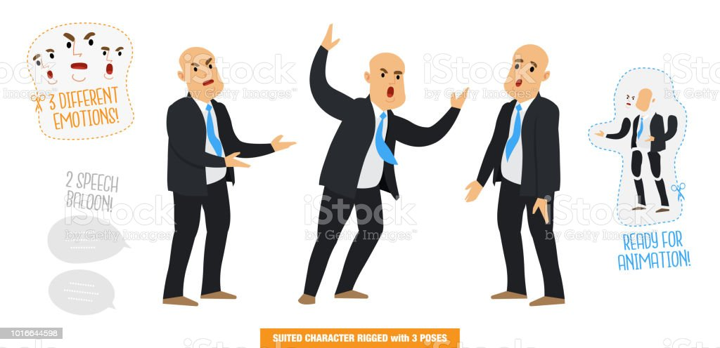 Vector illustration of a man with a suit, politics, businessman with 3 poses, 3 expressions and 2 speech balloons, Stylized rigged character set ready for animations vector art illustration