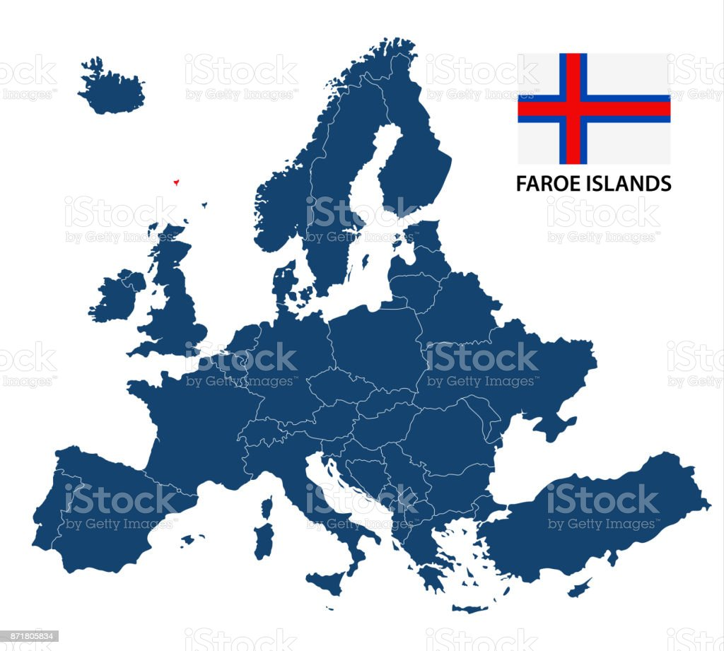 Vector illustration of a map of europe with highlighted faroe atlantic ocean globe navigational equipment map world map czech republic gumiabroncs Choice Image