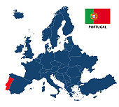 Vector illustration of a map of Europe with highlighted Portugal and Portuguese flag isolated on a white background