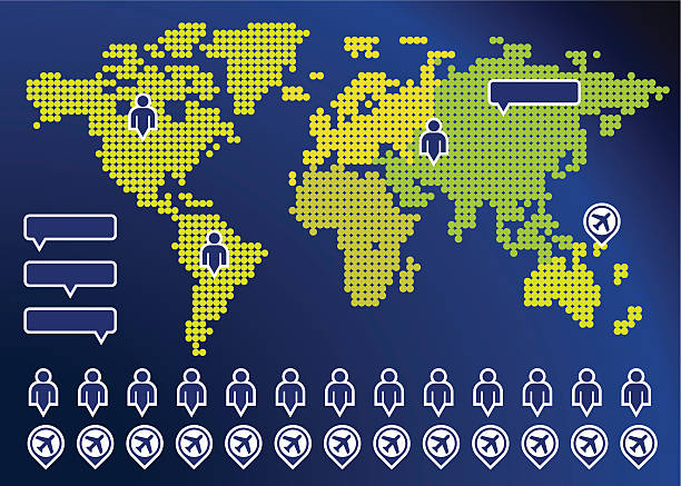 ilustrações de stock, clip art, desenhos animados e ícones de ilustração vetorial de um mapa com ícones de aviões - mapa mundi