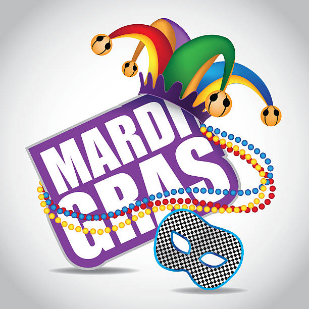 vector illustration of a mardi gras sign with a jester's hat - mardi gras cartoons stock illustrations, clip art, cartoons, & icons