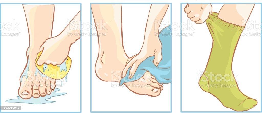Vector illustration of a medical foot care vector art illustration