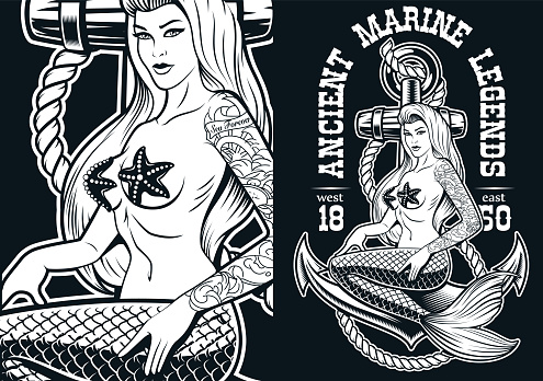 Vector illustration of a mermaid at the anchor
