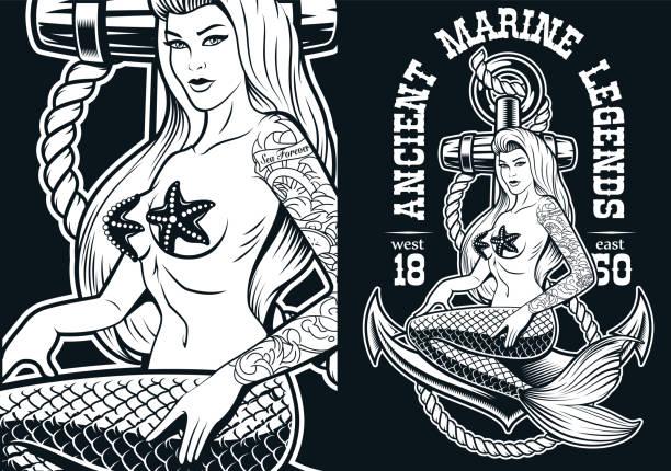ilustraciones, imágenes clip art, dibujos animados e iconos de stock de ilustración vectorial de una sirena en el ancla - tatuajes de sirenas