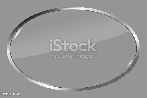 istock Vector illustration of a metal oval. Silver badge for the logo. Gray 3d emblem. Stock image. EPS 10. 1281566145