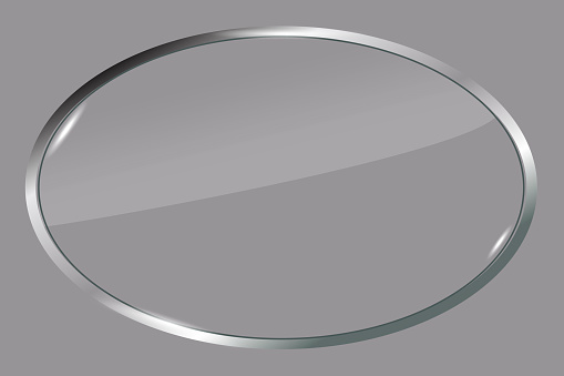 Vector illustration of a metal oval. Silver badge for the logo. Gray 3d emblem. Stock image. EPS 10.