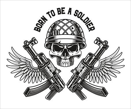 vector illustration of a military skull with kalashnikov rifles