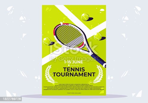 vector illustration of a minimalist poster for a tennis tournament, a tennis racket with light green balls lying on a tennis court