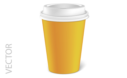 Vector illustration of a mocap cardboard cup of coffee or tea to takeaway