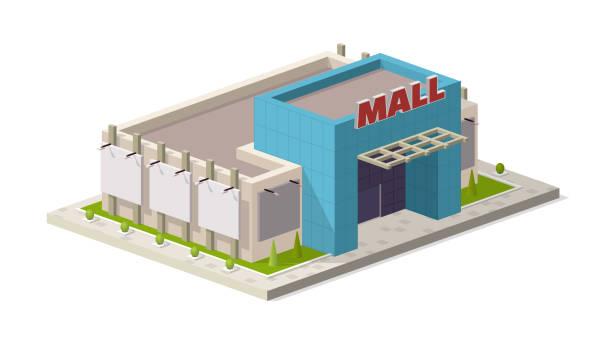 ilustrações, clipart, desenhos animados e ícones de uma ilustração vetorial de um moderno shopping center. ilustração isométrica centro comercial edifício - shopping